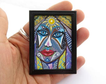 Miniature Painting by VaKaDi Original Tiny Artwork, Dollhouse Miniature Painting, Acrylic Painting, Colorful Portrait, Blue Eyes