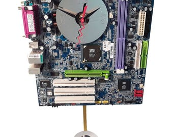 REDUCED PRICE! Blue Motherboard Pendulum Wall Clock. Unique for a Geek. Gifts for Him. Great Geek Gift!