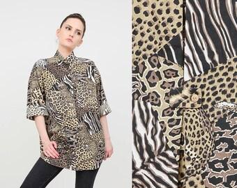 Vintage 80s Animal Print Shirt | Jungle Safari Shirt | LEOPARD Cheetah Tiger | Oversize Collared Button Up Shirt | Brown Black | size S M