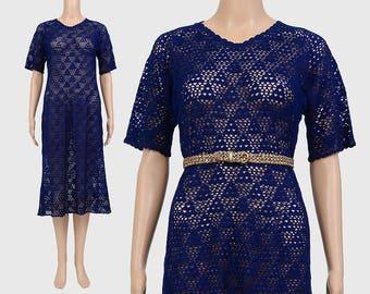 Vintage 70s Sheer Crochet Dress | Navy Blue Dress | Geometric Triangles | Boho See Trough Lace Midi Dress | Handmade Crochet Dress | S M