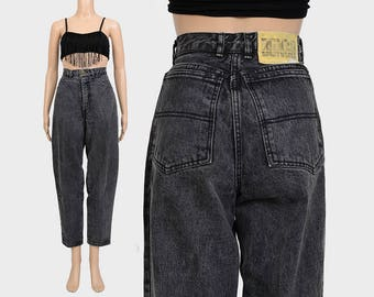 Vintage 80s 90s BONGO Jeans | Washed Gray Denim | High Waist Mom Jeans | Faded Black Jeans - Tapered Leg Grunge Jeans | Medium M US 8 10