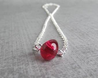 Fuchsia Lampwork Necklace, Fuchsia Pink Necklace Silver, Sterling Silver Necklace, Choker Necklace Pink, Adjustable Necklace, Simple Choker