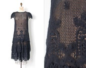 vintage 1970sdress | 70s-does-the-20s black cotton crochet lace dress | (small s )