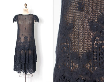 vintage 1970sdress | 70s-does-the-20s black cotton crochet lace dress | (small s )