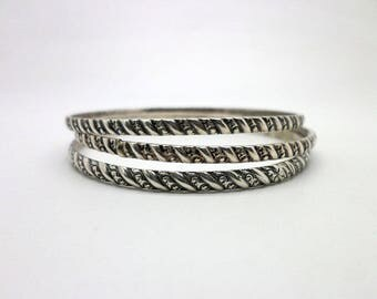 Trio of Vintage Sterling Silver Bangle Bracelets One Marked DANECRAFT