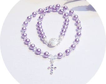 Purple Cross Necklace, Christian Jewelry, Crystal and Pearl, Sparkly Purple Necklace, Kids Jewelry, Little Girl Jewelry, Toddler Jewelry