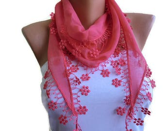 Coral Pink cotton lace scarf-Soft Coral skinny scarf-Buy 3,get 1 free-Scarflette with lace trim-Skinny scarf headband-