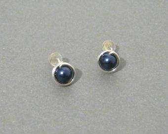 Dark Blue Wire Wrapped Sterling Silver Stud Earrings with Hypoallergenic Clear Rubber Earnuts - Bridal Wedding Minimalist