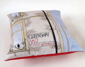 Queensway Central London Street Sign Printed and Embroidered Cushion Cover with Red Backing Fabric 40 x 40cm