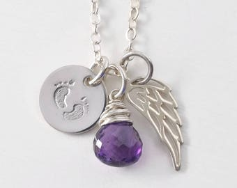 Infant Loss Necklace / Baby Footprints Angel Wing Birthstone Necklace Sterling Silver / Sympathy Gifts