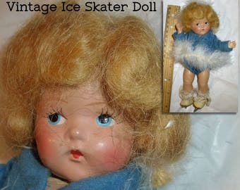 "Vogue Toddles Doll. 8"" Ice Skater. Strawberry Blonde Pre-Ginny Composite Doll. Sonja Henie. Maribou & Felt Coat, Skates. 1940s NOT A TOY."