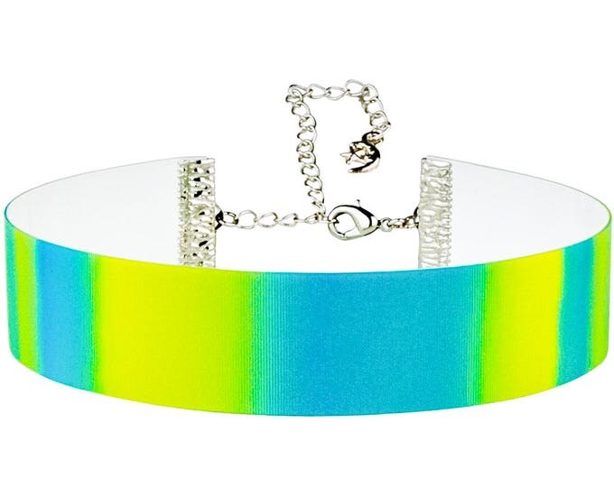 Adjustable Blue and Yellow Stripes Color Change Hologram 3D Lenticular Choker Necklace