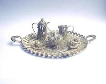 Vintage Silver Filigree Miniature Tea Set