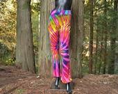 Fuchcia Flowers - Tie Dye Yoga Pants, Yoga Tights, Yoga Clothing, Yoga Clothes, Festival Clothing, Hippie Clothing, Dance Pants,