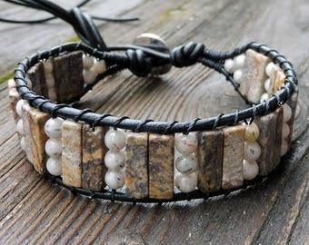 Feldspar Cuff Bracelet - Black Leather Bracelet, Feldspar Beads, Gray Feldspar Beads