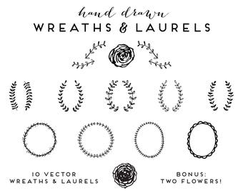 Hand Drawn Wreaths and Laurels | Clip Art Vector Illustrations Floral Botanical Branches Flowers Vines Frames Borders Logo Branding