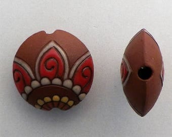 Paisley Flower Lentil Bead, Red Glaze On Terracotta, Large Hole Beads, Beads For Kumihimo, Golem Beads