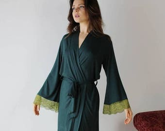 wine color size small ready to ship on sale lace trimmed robe in bamboo for lingerie or loungewear - ICON - made to order
