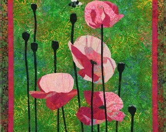 Pink Poppies II Original Fiber Art by Lenore Crawford