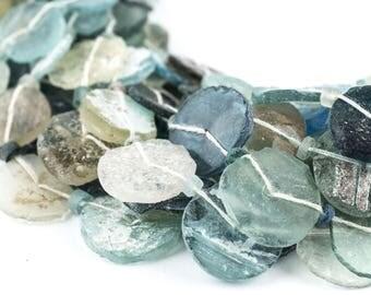 25 Circular Disk Graduated Ancient Roman Glass Beads 9-16mm: Flat Roman Glass Roman Glass Jewelry Ethnic Glass Beads Glass Flat Beads