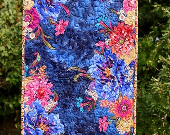 MarveLes AUTUMN Navy Orange Gold Pink FALL FLORAL Collage Quilted Table Runner Gold