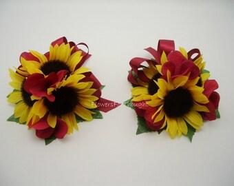 Sunflower Corsage with Burgundy Hydrangea, Wedding Flowers, 1 piece