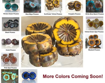 Pansy Picasso, Czech Beads 15mm 6 Pcs Large Glass Flowers Ur Pick Sunflower Riviera Ocean Blue Maya Mustard Pink Black Sapphire Violet