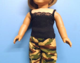 """Fits 18"""" dolls -  Camo Pants with black top"""