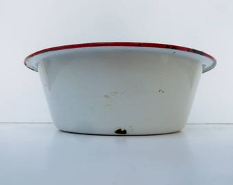 White Enamelware Bowl with Red Trim Shabby Rustic Farmhouse Decor