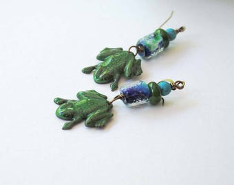 Frog Earrings, Green Enamel Earrings, Blue Lampwork Earrings, Animal Jewelry, Green Frog Earrings, Glass Bead Earrings,