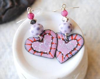 Pink Heart Earrings, Artisan Enamel Earrings, XO Earrings, Lampwork Bead Earrings, Sweet Valentine Earrings, Heart Jewelry, Valentine Hearts