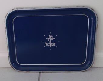 Vintage Nautical Navy Blue Anchor Tray Tole Tray