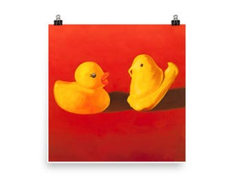 Duck and Peep - Art Print - from original oil painting, realism, rubber duck, candy, toys, Easter, play, nostalgia, kitsch, fun, play