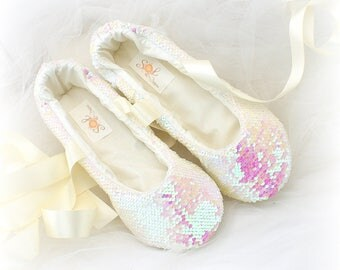 Wedding Ballet Slippers with Ties in Ivory and Blush Sequin, Elegant Bridal Ballet Flats, Custom Wedding Flats Shoes