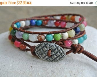 50% OFF SALE JustHipStuff Bohemian Gemstone  Beaded Leather Wrap Bracelet