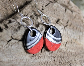 Drop Shape Ceramic Dangle Earrings // Red and Black // Handmade Jewelry // One of a Kind
