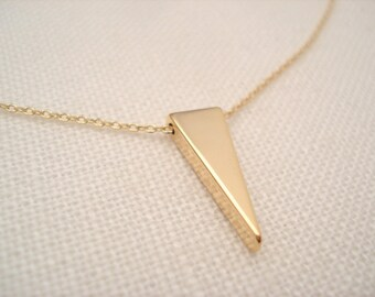 Gold Triangle with Gold filled chain Necklace...V necklace, Simple everyday, layering, Delicate minimalist jewelry, wedding, bridesmaid gift