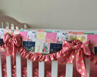 Crib Rail Covers, Little Things Crib Rail Cover, Raspberry Gold Dot Rail Guard, Girl Crib Rail Cover, Bumperless Crib Bedding A La Carte
