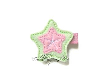 Starfish Hair Clip, Beach Hair Clip, Summer Bows, Felt Hair Clips, Toddler Hair Clips, Mint and Pink Sea Star, Girls Hair Barrettes