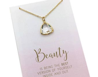 Uplifting gifts, motivational gift for women or girls, Gold triangle crystal jewel charm necklace carded with inspiring message beauty quote