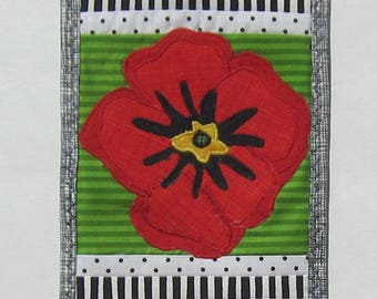 Red Poppy on Green with Black and White Swirls Mini Wall Quilt Handmade