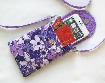 Iphone 6 Plus Smart Phone Gadget Case Detachable Neck Strap Quilted Fabric Batik Purple Lavender Floral