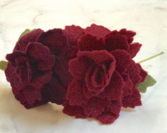 Deep Red Rose Flower Hair Accessory//Adjustable Metal or Elastic Band//Women and Girls//Romantic Bridesmaid Wedding Hair Piece//Customizable