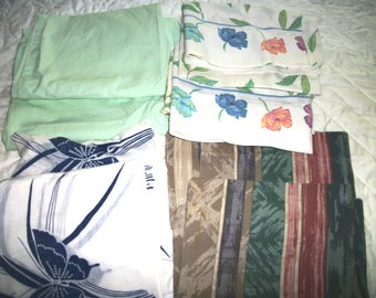 Selection Pair vintage  pillowcases   green, blue butterflies, pink stripes,  flowers , leaves    Dan Rivers Percale,shabby  chic