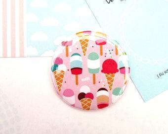 Pocket mirror / summer Pocket mirror with yummy and girly Ice cream - ice-cream