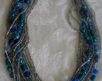 Vintage necklace, multi strands of seed beads & larger plastic beads, Japan