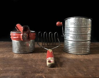 Vintage Red Cooking Utensils, Red Kitchen Collection, Flour Sifter, Potato Masher, Ricer, Rustic Kitchen