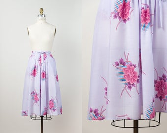 1970s Purple Floral Skirt - Vintage 70s High Waisted Skirt with Pink Peony Print - Flared Midi Skirt with Pockets - XS