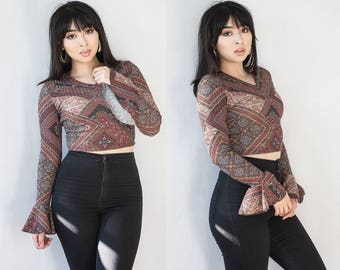 Ribbed Geometric V Neck Crop Top Bell Sleeves XS S M L XL XXL Limited Edition