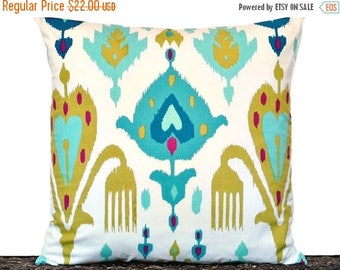Christmas in July Sale Teal Ikat Pillow Cover Cushion Turquoise Magenta Olive Green Royal Blue White Decorative Repurposed 18x18